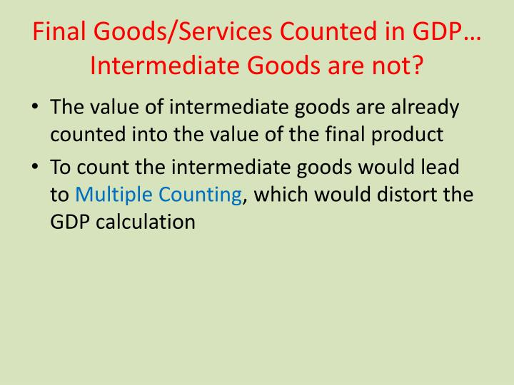 Final Goods/Services Counted in GDP… Intermediate Goods are not?