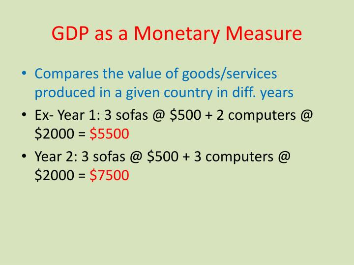 Gdp as a monetary measure