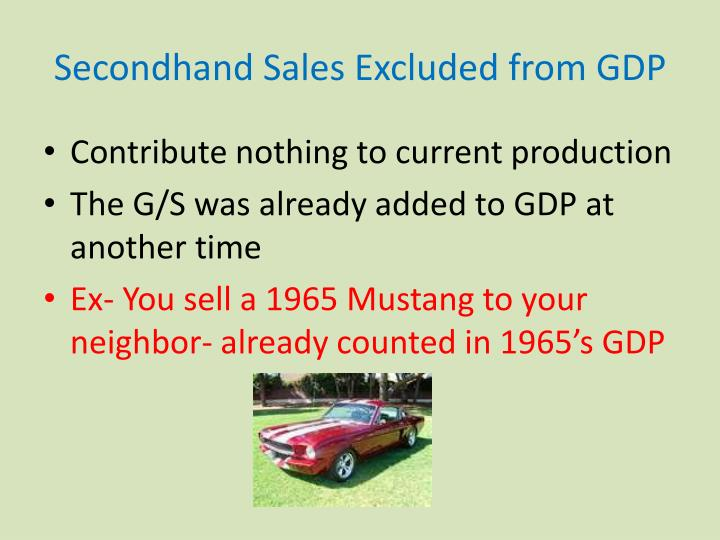 Secondhand Sales Excluded from GDP
