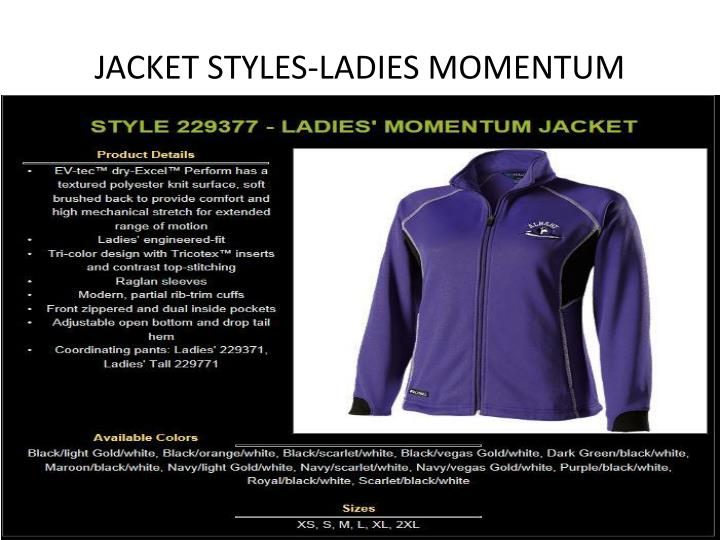 JACKET STYLES-LADIES MOMENTUM
