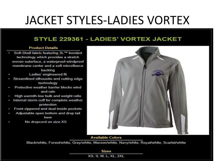 JACKET STYLES-LADIES VORTEX