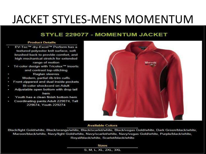 JACKET STYLES-MENS MOMENTUM