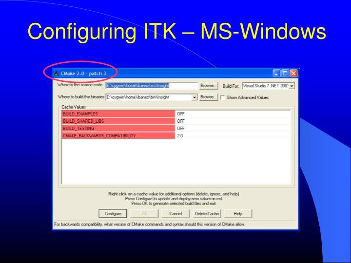 Configuring ITK – MS-Windows