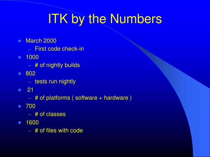 ITK by the Numbers
