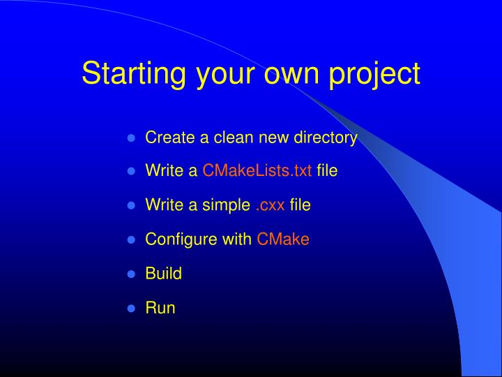 Starting your own project