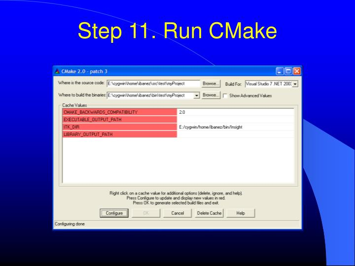 Step 11. Run CMake