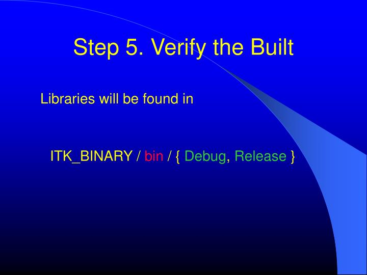 Step 5. Verify the Built