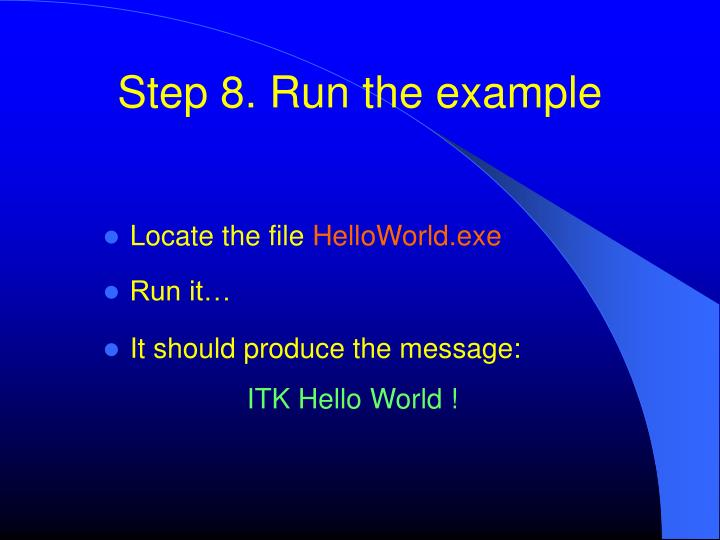 Step 8. Run the example
