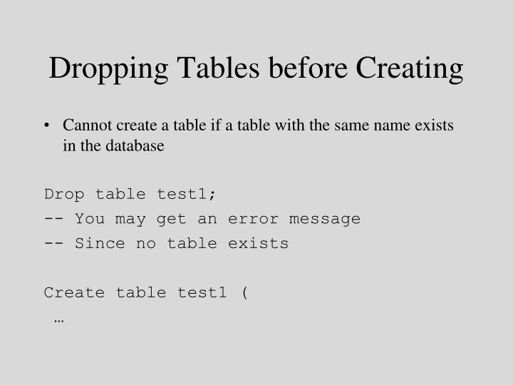 Dropping Tables before Creating