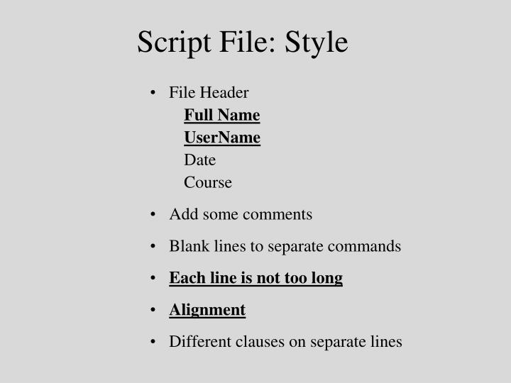 Script File: Style