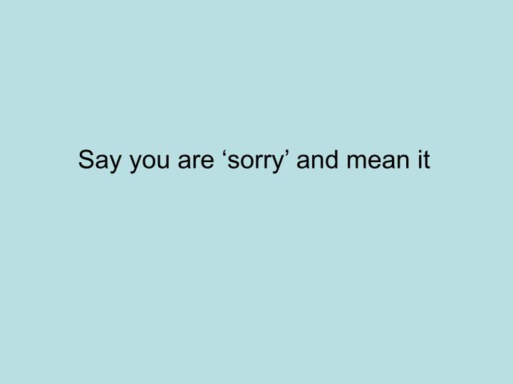 Say you are 'sorry' and mean it