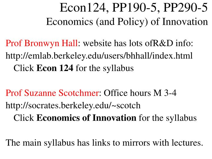 Econ124 pp190 5 pp290 5 economics and policy of innovation