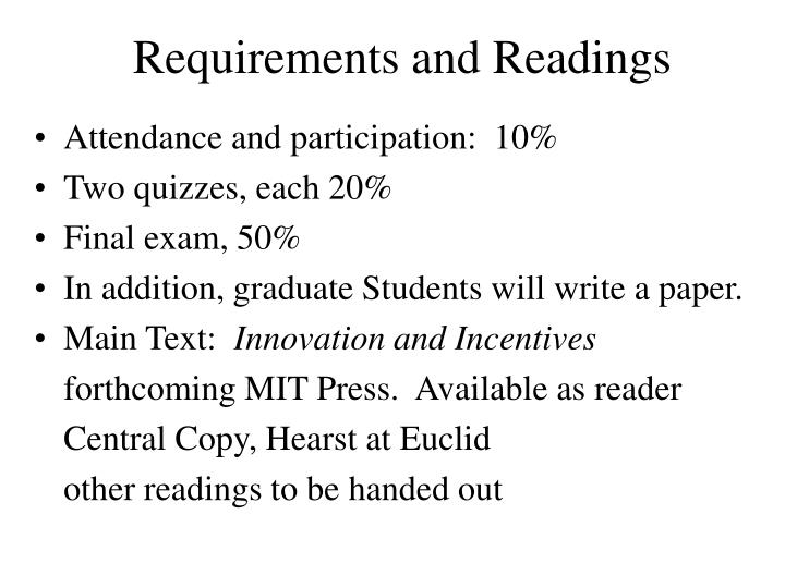 Requirements and Readings