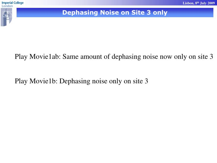 Dephasing Noise on Site 3 only