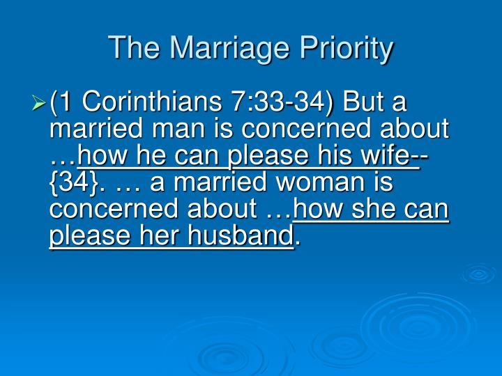 The Marriage Priority