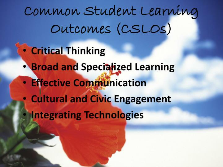 Common Student Learning Outcomes (CSLOs)