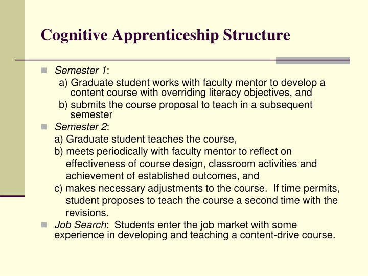 Cognitive Apprenticeship Structure