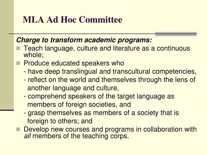 MLA Ad Hoc Committee