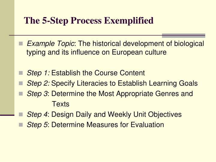 The 5-Step Process Exemplified