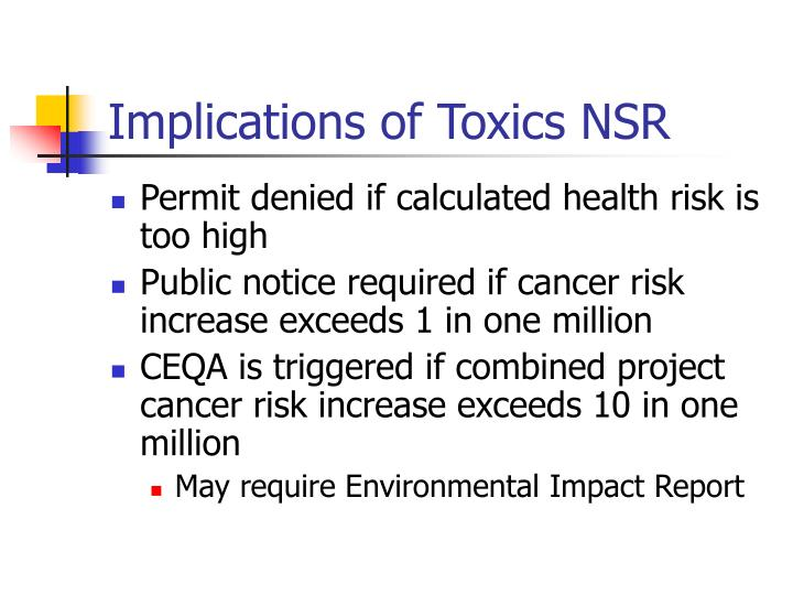 Implications of Toxics NSR