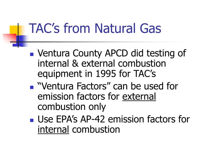 TAC's from Natural Gas