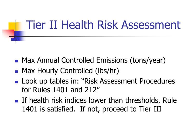 Tier II Health Risk Assessment