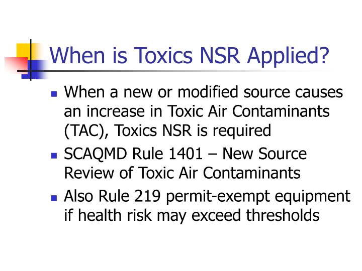 When is Toxics NSR Applied?