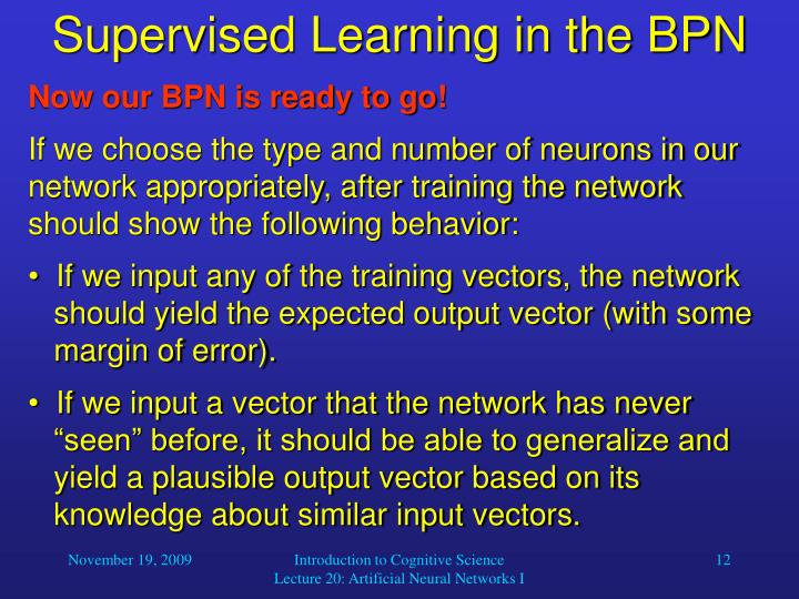 Supervised Learning in the BPN