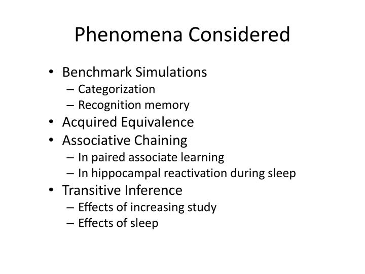 Phenomena Considered
