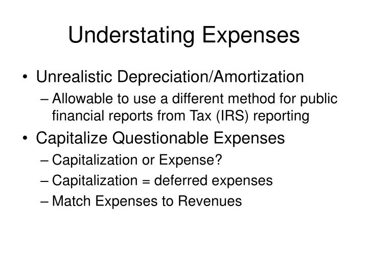 Understating Expenses