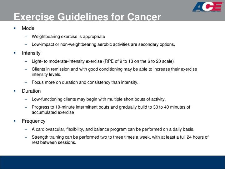 Exercise Guidelines for Cancer