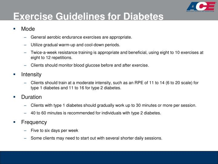 Exercise Guidelines for Diabetes