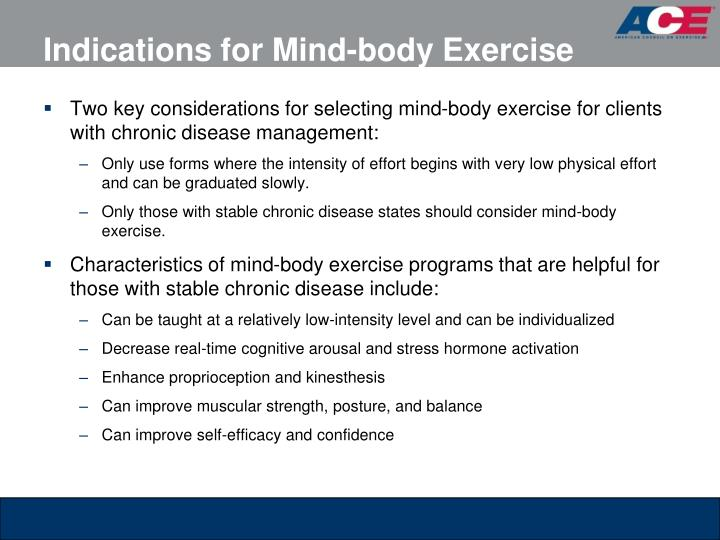 Indications for Mind-body Exercise