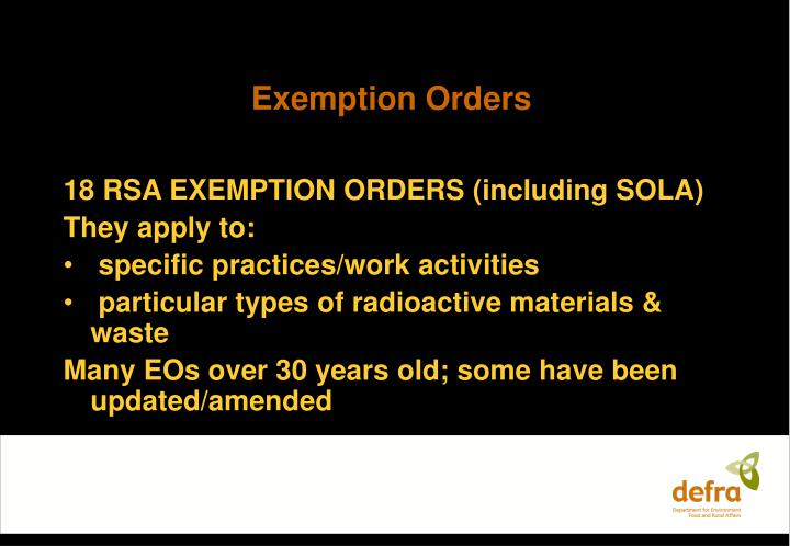 Exemption orders