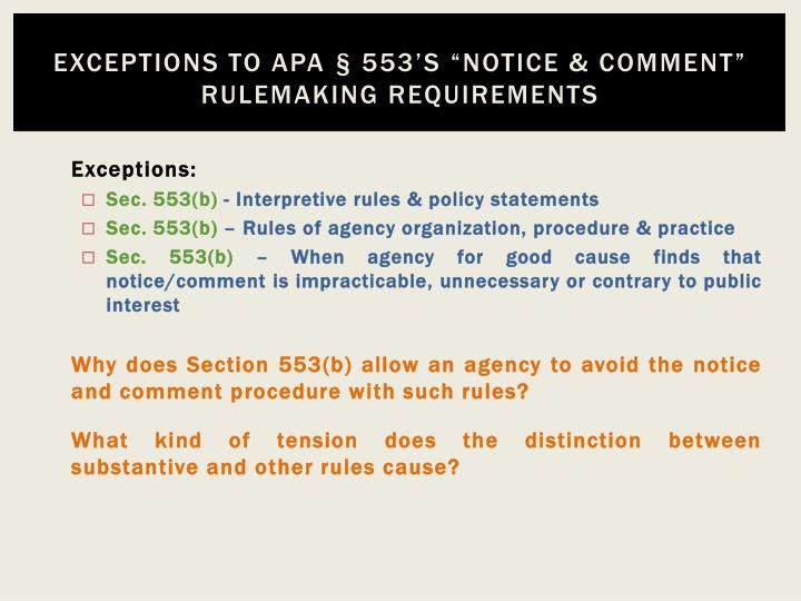 Exceptions to apa 553 s notice comment rulemaking requirements