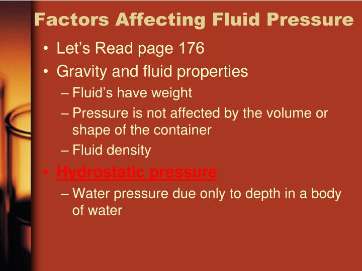Factors Affecting Fluid Pressure