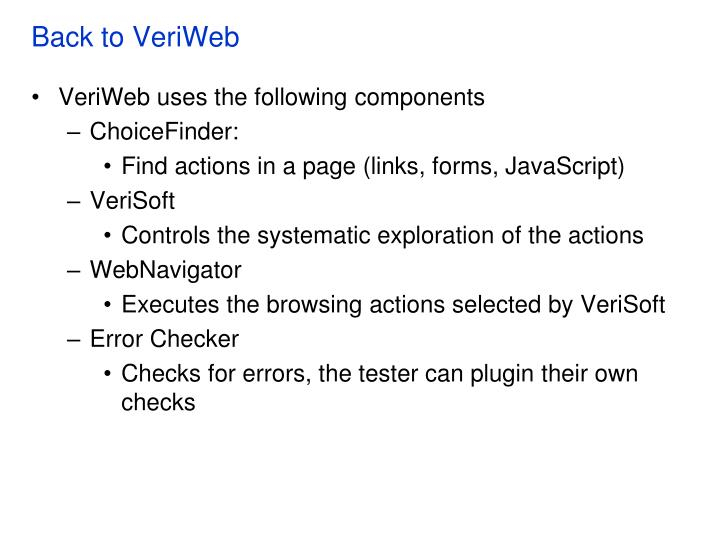 Back to VeriWeb