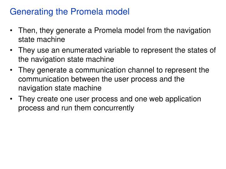 Generating the Promela model