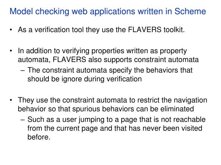 Model checking web applications written in Scheme