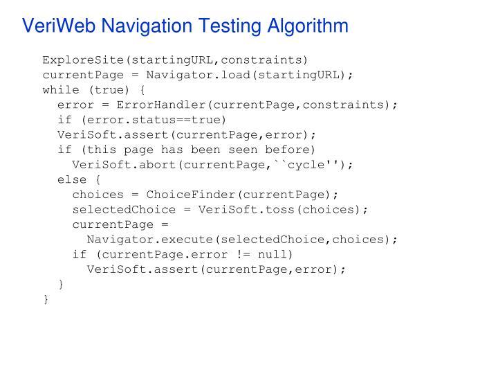 VeriWeb Navigation Testing Algorithm