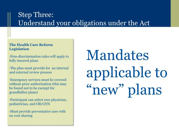 "Mandates applicable to ""new"" plans"