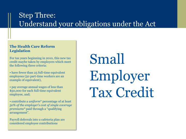 Small Employer Tax Credit
