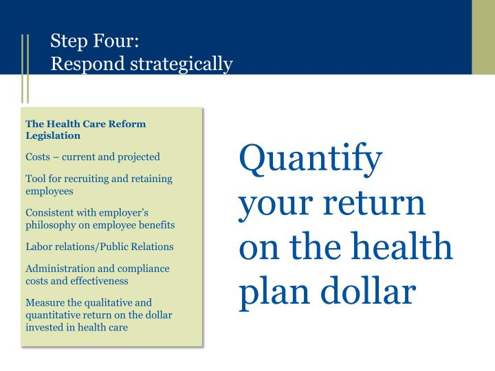 Quantify your return on the health plan dollar