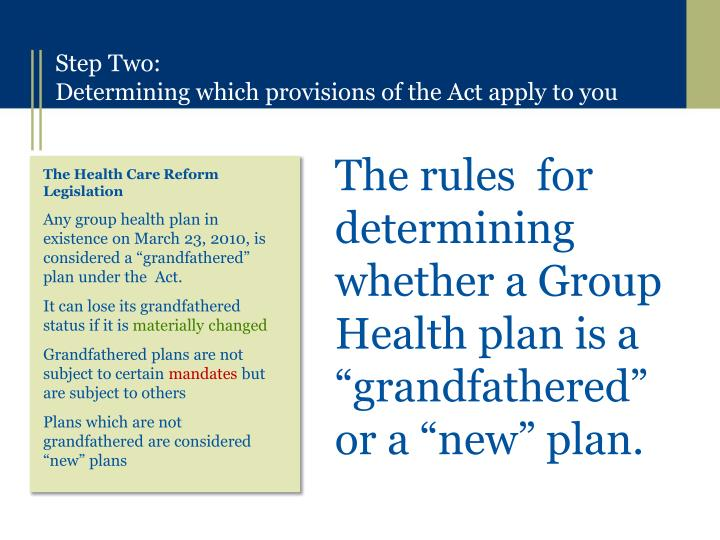 "The rules  for determining whether a Group Health plan is a ""grandfathered"" or a ""new"" plan."