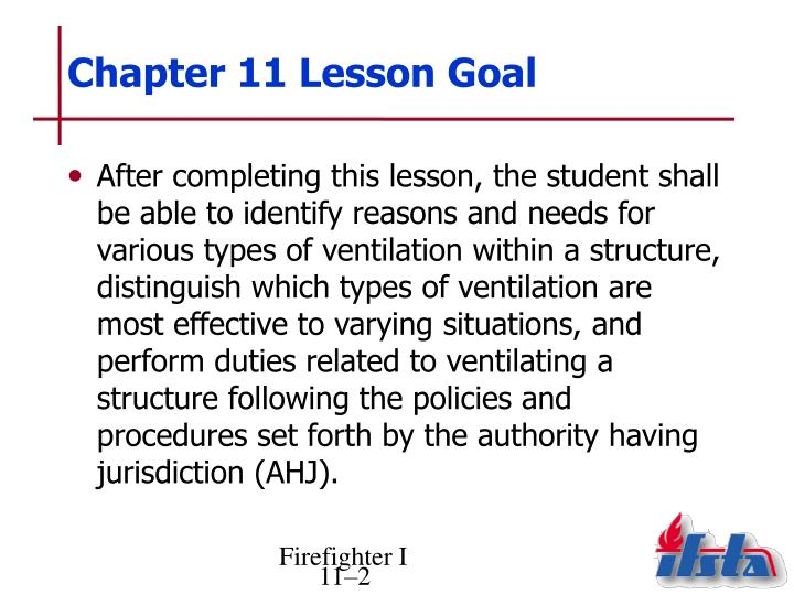 Chapter 11 lesson goal
