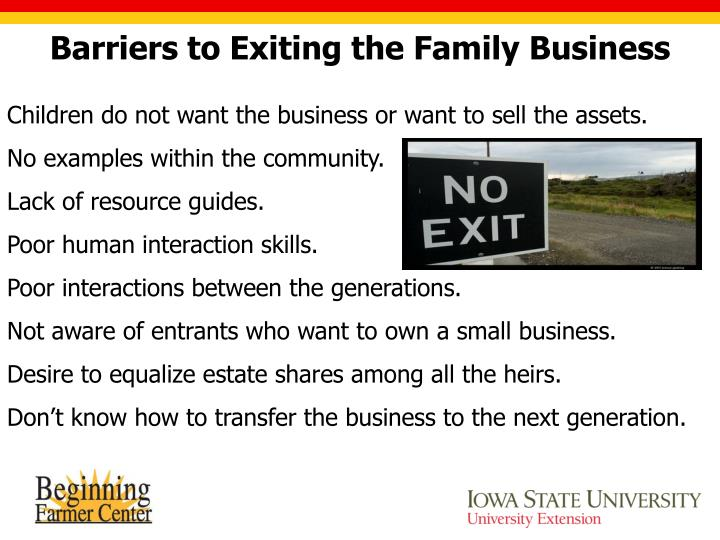 Barriers to Exiting the Family Business