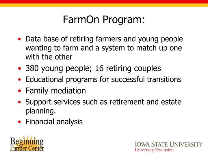 FarmOn Program: