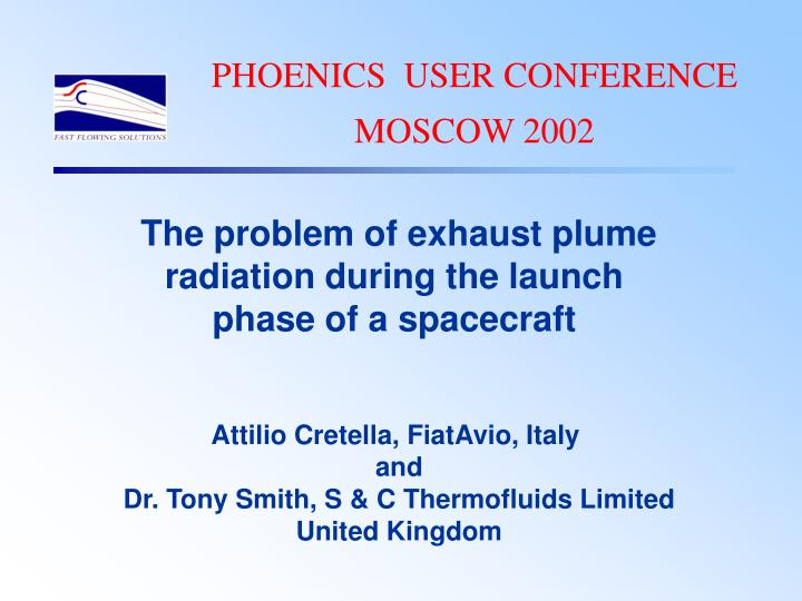 PHOENICS  USER CONFERENCE