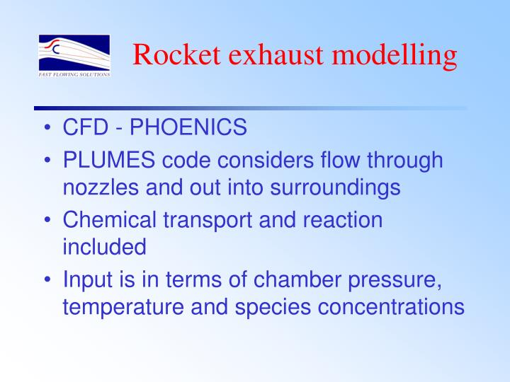 Rocket exhaust modelling