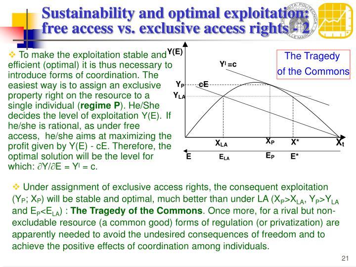 Sustainability and optimal exploitation: